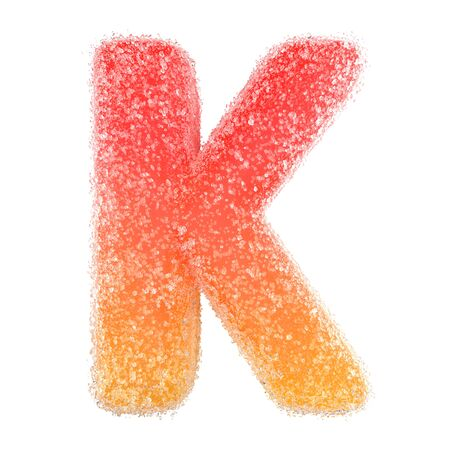 K - Letter of the alphabet made of candy
