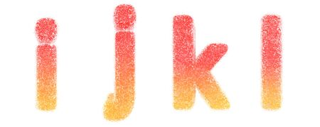 Lowercase letters i, j, k, l. Candy alphabet collection