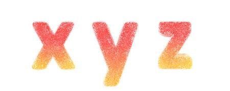 Lowercase letters x, y, z. Candy alphabet collection Zdjęcie Seryjne