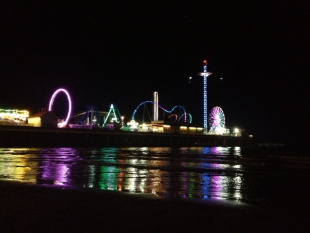 Night carnival at beach side, Galveston.