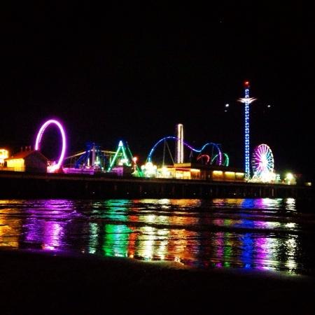 beach at night on pleasure pier Galveston