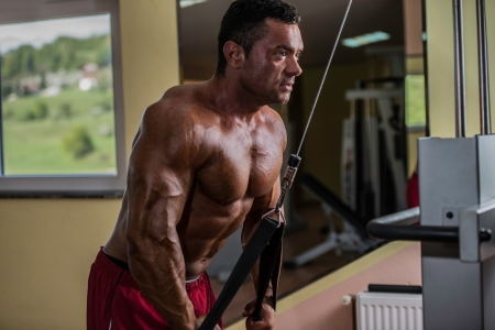 bodybuilder doing heavy weight exercise for triceps with cable photo
