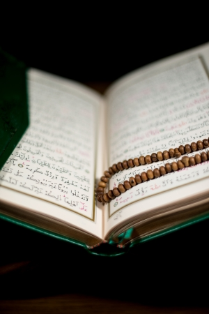 pages of holy koran and rosary at the book Stock Photo - 20225633