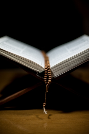 pages of holy koran and rosary at the book Stock Photo - 20225636