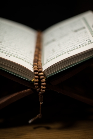 pages of holy koran and rosary at the book Stock Photo - 20225759