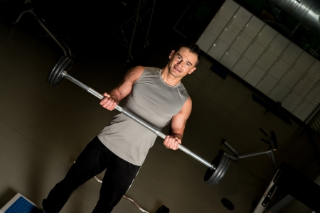 weight lifter: Male weight lifter with happy expression