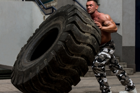 Tire Workout Stock Photo