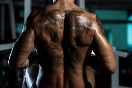 bodybuilder flexing his back photo