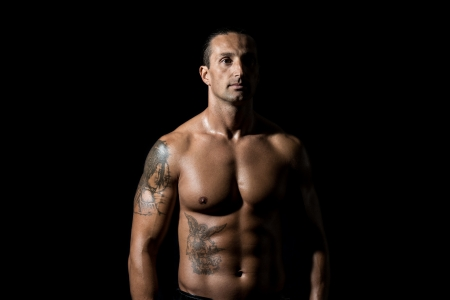 naked male body: Body Builder Posing
