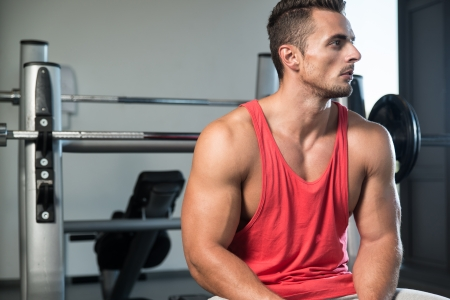 gay men: Taking a Break after Working Out Stock Photo