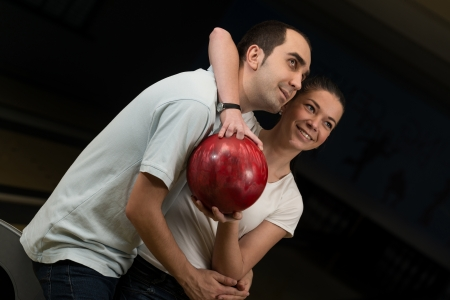 Couple In A Bowling Alley photo