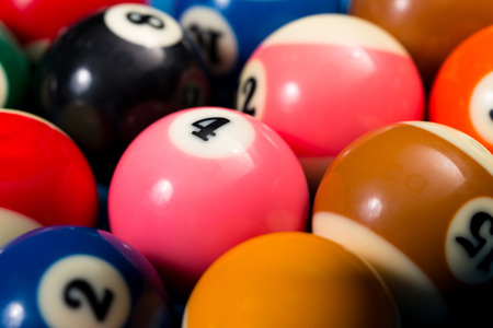upperdeck view: Close-Up Of Pool Balls On Blue Pool Table