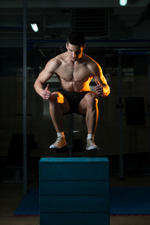Crossfit Box Jump Stock Photo