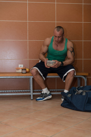 Bodybuilder Eating Healthy Bodybuilding Diet Food Out  photo