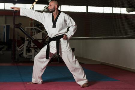 uomini maturi: Uomini maturi Praticare le sue mosse di Karate Archivio Fotografico