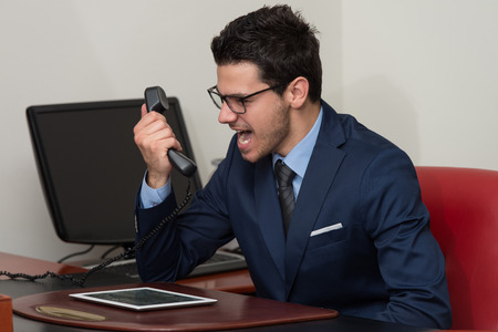 businessman working at his computer: Young Businessman Working At His Computer While Talking On The Phone