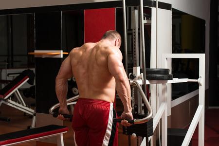 trapezius: Bodybuilder masculino que hace Heavy Weight Ejercicio Para Trapecio Foto de archivo