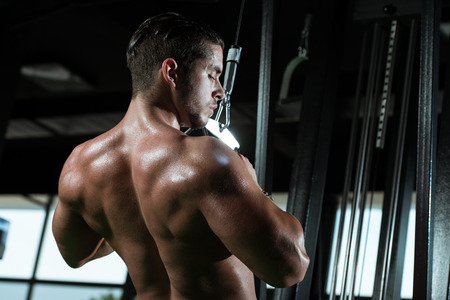 Young Bodybuilder Doing Heavy Weight Exercise For Back In Gym photo