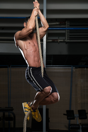 Fitness Rope Climb Oefening In Fitness Gym Workout