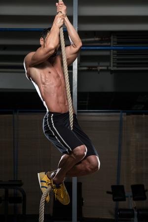 escalada: Gimnasio Cuerda Climb Ejercicio En Fitness Gym Workout Foto de archivo