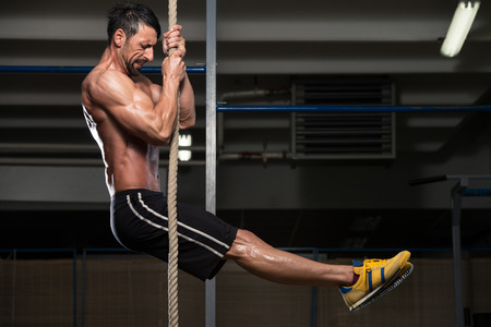 rope: Fitness Rope Climb Exercise In Fitness Gym Workout