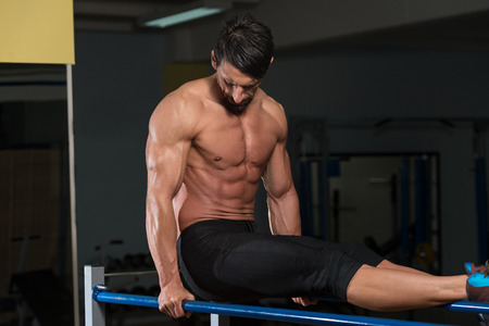 Fit Athlete Working Out Exercise On Parallel Bars photo