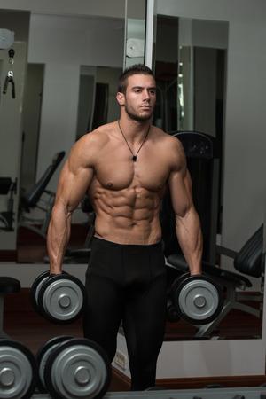 beau jeune homme: Monter athl�tes travaillez Biceps - halt�res boucles de concentration