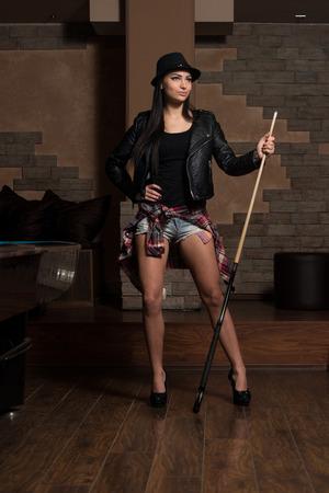 billiards hall: Portrait Of A Sexy Woman Playing Billiards