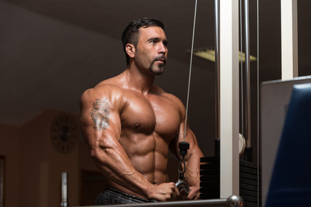 triceps: Mexican Bodybuilder Doing Heavy Weight Exercise For Triceps