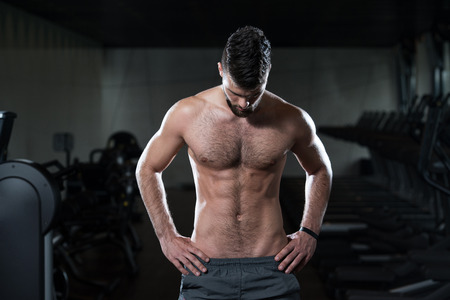shirtless man: Portrait Of A Young Sporty Man In The Modern Gym With Exercise Equipment