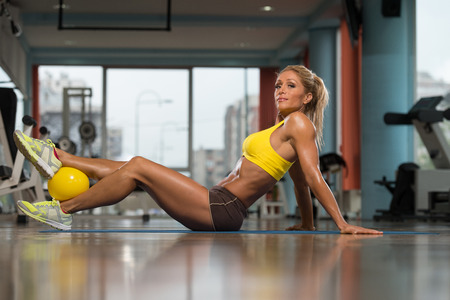 woman middle age: Aerobics Pilates Woman With Yoga Balls On Fitness Class Stock Photo