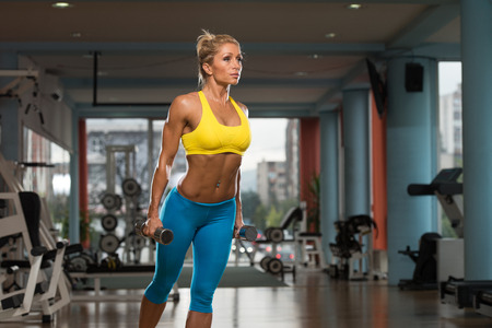 physically fit: Portrait Of A Physically Fit Middle Age Womane In Fitness Center