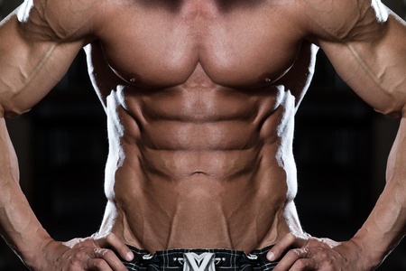 ripping: Close Up Of A Perfect Abs Stock Photo