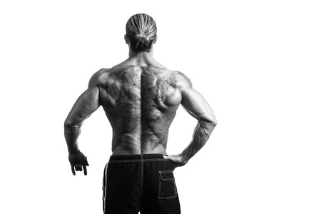 pectorals: Back Rear View Tattooed Male On Isolated White Background