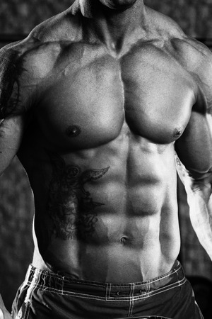 Close Up Of A Perfect Abs - Black And White Photo