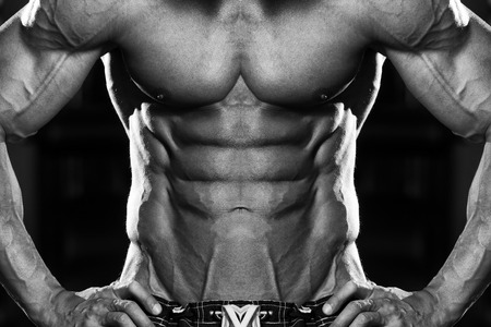 muscular build: Close Up Of A Perfect Abs - Black And White Photo