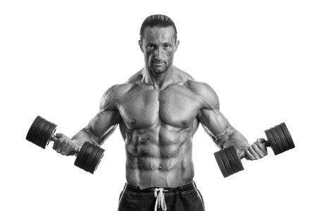 italian man: Man Working Out With Dumbbells On White Background