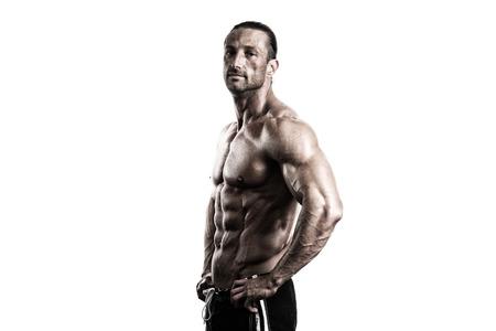 Muskulös Älterer Mann Posing In Studio - auf weißen Hintergrund Lizenzfreie Bilder