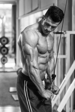 bodybuilding: Young Bodybuilder Doing Heavy Weight Exercise For Triceps
