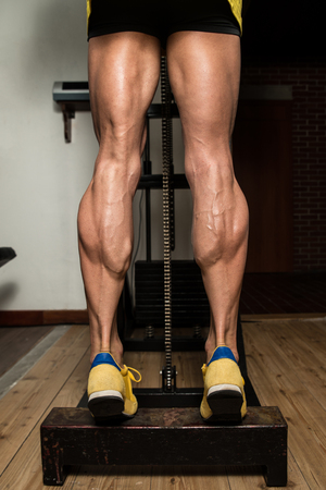 beau jeune homme: Bodybuilder Doing Heavy Weight Exercise For Legs Calves Banque d'images