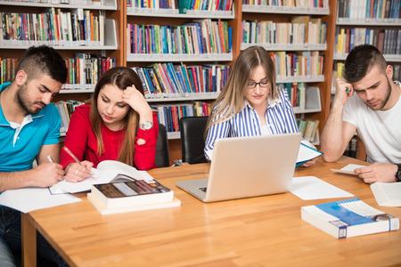 library: En La Biblioteca - Grupo Hermoso de estudiantes con port�tiles y libros en una escuela secundaria - Biblioteca Universitaria - Profundidad De Campo Foto de archivo