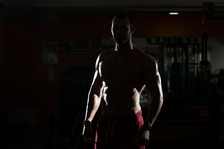 siluet: Siluet Portrait Of A Physically Fit Man Showing His Well Trained Body