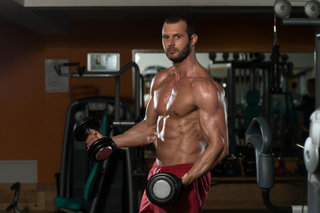 bodybuilding: Bodybuilder Working Out Biceps - Dumbbell Concentration Curls Stock Photo