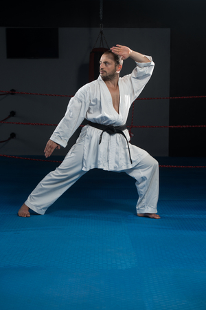 kata: Young Man Practicing His Karate Moves - White Kimono - Black Belt