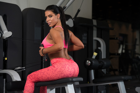 sports club: Sexy Latino Woman Working Out Back On Machine In Fitness Center