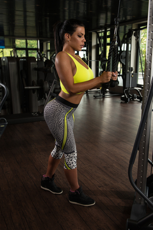 triceps: Latin Woman Athlete Doing Heavy Weight Exercise For Triceps