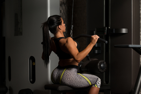 latina female: Sexy Latino Woman Working Out Back On Machine In Fitness Center