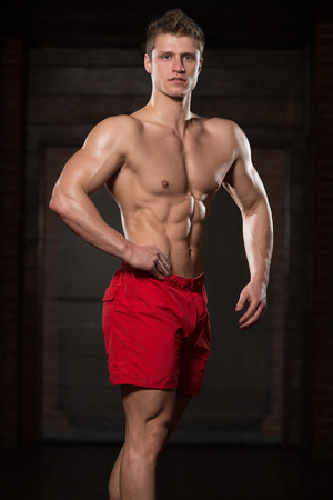 physically fit: Portrait Of A Young Physically Fit Man Showing His Well Trained Body