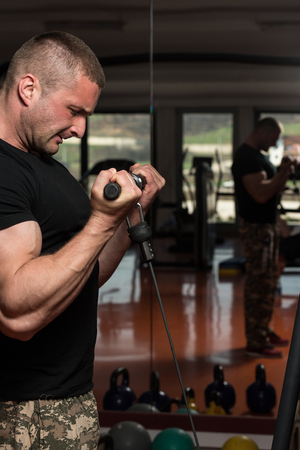 heavy weight: Young Bodybuilder Doing Heavy Weight Exercise For Biceps