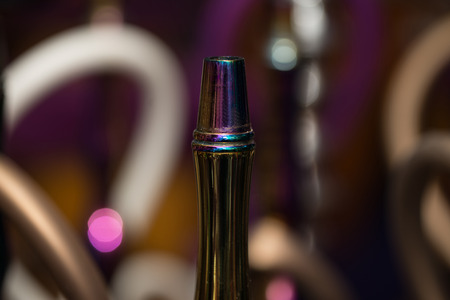 waterpipe: Close-up Of Several Hookahs Lined Up In A Cafe Bar